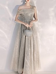 cheap -A-Line Sparkle Grey Prom Formal Evening Dress One Shoulder Short Sleeve Floor Length Polyester with Sequin 2020