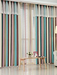cheap -Two Panel Modern Minimalist Style Living Room Bedroom Dining Room Children's Room Chenille Striped Jacquard Curtains