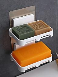 cheap -2PC Bathroom Soap Dish Storage Tray Holder Plastic Self-adhesive Soap Holder for Bathroom Accessories