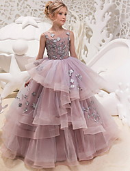 cheap -Ball Gown Floor Length Formal Evening / Pageant Flower Girl Dresses - Polyester Sleeveless Jewel Neck with Lace / Appliques