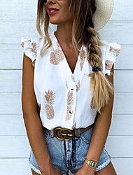 cheap -Women's Fruit Ruffle Print Shirt Daily V Neck White / Blushing Pink / Brown
