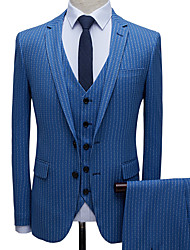 cheap -Tuxedos Tailored Fit Slim Notch Single Breasted Two-buttons Polyester Stripes / British / Fashion