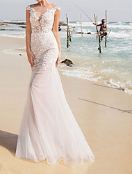 cheap -A-Line Wedding Dresses Jewel Neck Sweep / Brush Train Lace Taffeta Tulle Cap Sleeve Country Plus Size with Lace Appliques 2020
