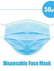 cheap -50pcs Face Mouth Mask Disposable Protect 3 Layers Filter Dustproof Earloop Non Woven Mouth Masks
