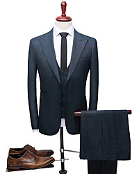 cheap -Tuxedos Slim Fit Peak Single Breasted Two-buttons Polyester Plaid / Check / British / Fashion