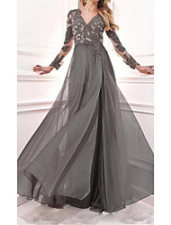 cheap -A-Line Mother of the Bride Dress Elegant V Neck Sweep / Brush Train Chiffon Lace Satin Long Sleeve with Pattern / Print Split Front 2020