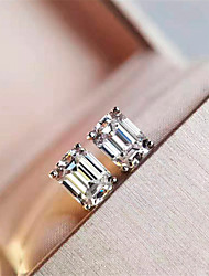 Недорогие -3 карата Синтетический алмаз Серьги Серебристый Назначение Жен. Принцесса вырезать Дамы Роскошь Элегантный стиль Свадьба Свадьба Вечерние Официальные Высокое качество Классический 2pcs