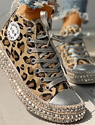cheap -Women's Sneakers Comfort Shoes Fantasy Shoes Canvas Shoes Flat Heel Round Toe Casual Vintage Daily Office & Career Walking Shoes Canvas Rivet Leopard Summer Leopard Black