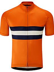 Недорогие -21Grams Муж. С короткими рукавами Велокофты Черный / оранжевый В полоску Велоспорт Джерси Верхняя часть Горные велосипеды Шоссейные велосипеды Устойчивость к УФ Дышащий Быстровысыхающий Виды спорта
