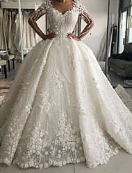 cheap -Ball Gown Wedding Dresses V Neck Sweep / Brush Train Lace Long Sleeve Country Plus Size with Lace Embroidery 2020