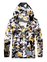 cheap -Men's Daily / Sports Basic Spring &  Fall / Spring & Summer Regular Jacket, Camo / Camouflage Hooded Long Sleeve Nylon Print Yellow / Red / Blue
