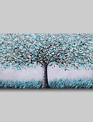 cheap -Oil Painting Hand Painted Abstract Comtemporary Modern Stretched Canvas Blue Grey Trees With Stretched Frame