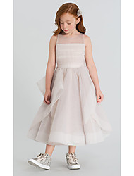 cheap -A-Line Ankle Length Wedding / Party Flower Girl Dresses - Organza Sleeveless Jewel Neck with Tier / Solid