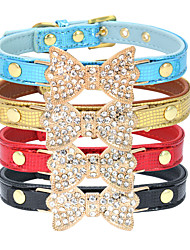 cheap -Cat Dog Collar Adjustable / Retractable Rhinestone Bowknot PU Leather Golden Black Red Blue Pink