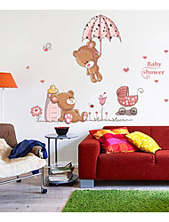 cheap -Cute two bears Umbrella home background decoration removable sticker 50*70CM 50*70CM
