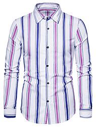 cheap -Men's Striped Shirt Basic Daily Classic Collar Wine / Red / Blushing Pink / Long Sleeve