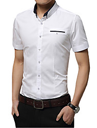 cheap -Men's Daily Work Business / Basic Shirt - Solid Colored Blushing Pink