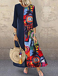cheap -Women's Plus Size Maxi A Line Dress - 3/4 Length Sleeve Print Spring & Summer Plus Size Abaya Holiday Vacation Red Yellow M L XL XXL XXXL XXXXL XXXXXL / Cotton