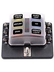 Недорогие -Автоматический выключатель 32v / 1 в 6 из коробки предохранителей со светодиодным индикатором клеммный блок ПК / двойной двойной предохранитель