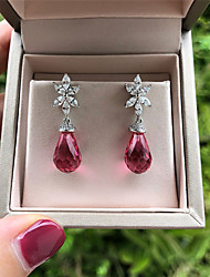 cheap -6 carat Synthetic Tourmaline Earrings Alloy For Women's Pear cut Antique Artistic Luxury Dangling Wedding Party Evening Formal High Quality Drop 1 Pair