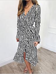 cheap -Women's Khaki White Dress Sheath Striped S M