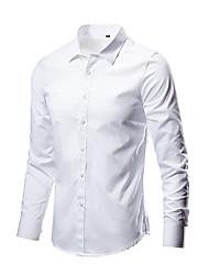 Недорогие -Муж. Однотонный Рубашка Классический Повседневные Винный / Белый / Черный / Лиловый / Военно-зеленный / Пурпурный / Тёмно-синий / Светло-серый