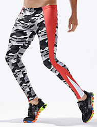 cheap -TAUWELL Men's Leggings Running Tights Compression Pants Sports Winter Bottoms Running Jogging Training Breathable Quick Dry Moisture Wicking Color Block Camouflage Red Army Green Sky Blue Black