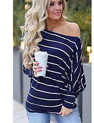 cheap -Women's Striped T-shirt Daily Off Shoulder Blue / Fuchsia / Gray