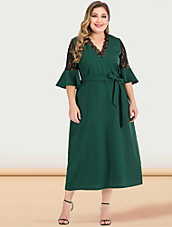 cheap -Women's Plus Size Maxi A Line Dress - Half Sleeve Solid Color Lace Spring & Summer V Neck Casual Vintage Party Going out Flare Cuff Sleeve Green XL XXL XXXL XXXXL