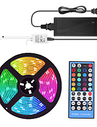 Недорогие -5м гибкие светодиодные полосы света комплекты светильников RGB TIKTO 300 300 светодиодов SMD5050 10 мм 1 х 40 клавишный контроллер / 1 х 12 В 5а блок питания 1 комплект RGB