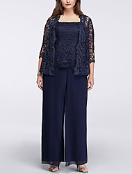 cheap -Pantsuit / Jumpsuit Square Neck Floor Length Chiffon 3/4 Length Sleeve Elegant Mother of the Bride Dress with Lace 2020