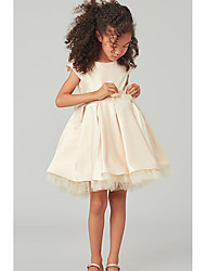 cheap -A-Line Knee Length Wedding Flower Girl Dresses - Satin / Tulle Cap Sleeve Jewel Neck with Bow(s) / Solid