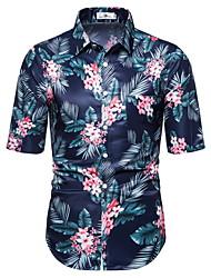 voordelige -Heren Geometrisch Print Overhemd Hawaii Dagelijks Rood / Geel