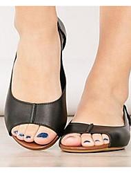 cheap -Women's Sandals Flat Sandal Summer Flat Heel Peep Toe Daily PU Black / Gold / Silver