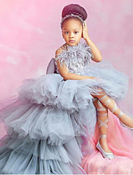 cheap -A-Line Chapel Train Party / Wedding Flower Girl Dresses - POLY Sleeveless Strapless with Feathers / Fur / Tier / Solid