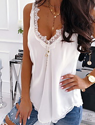 cheap -Women's Solid Colored Lace Chiffon Tank Top Daily Vacation Home V Neck White / Black