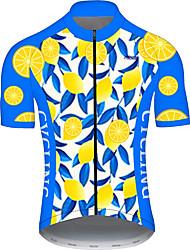 Недорогие -21Grams Муж. С короткими рукавами Велокофты Голубой + Желтый Фрукты Лимонный Велоспорт Джерси Верхняя часть Горные велосипеды Шоссейные велосипеды Устойчивость к УФ Дышащий Быстровысыхающий