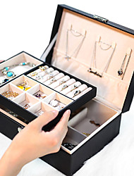 cheap -Lady PU Leather Jewelry Box Storage Box Earrings Bracelet Necklace Ring Display Case Double layer Portable Jewelry Organizer 23X17X9CM