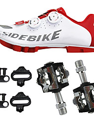 cheap -SIDEBIKE Adults' Cycling Shoes With Pedals & Cleats Mountain Bike Shoes Carbon Fiber Cushioning Cycling Red and White Men's Cycling Shoes