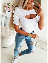 cheap -Women's Solid Colored Cut Out Blouse Basic Street chic Daily Going out White / Black