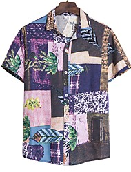 cheap -Men's Geometric Shirt - Linen Basic Holiday Classic Collar White / Black / Blue / Purple / Red / Blushing Pink / Green / Light Blue / Short Sleeve