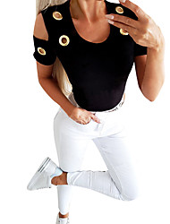 cheap -Women's Solid Colored Cut Out T-shirt Basic Street chic Daily Going out White / Black / Blue