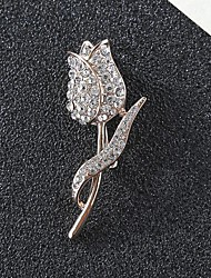 cheap -Women's Cubic Zirconia Brooches Classic Flower Stylish Simple Classic Brooch Jewelry Gold Silver For Party Gift Daily Work Festival