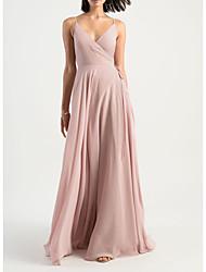 cheap -Sheath / Column V Neck Floor Length Chiffon Bridesmaid Dress with Pleats / Open Back