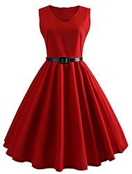 Недорогие -Жен. Оболочка Платье - Без рукавов Сплошной цвет Лето V-образный вырез Формальная 2020 Черный Синий Красный S M L XL XXL