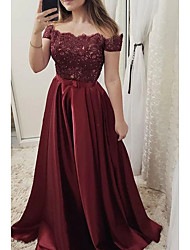 cheap -A-Line Cut Out Engagement Prom Dress Off Shoulder Short Sleeve Sweep / Brush Train Lace Satin with Pleats Lace Insert 2020