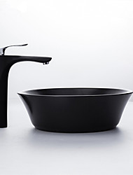 cheap -Home / Hotel Nordic Style Creative Matte Black Vanity Top Basin Ceramic Washbasin Single Basin Balcony Basin Without Faucet
