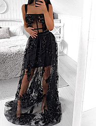 cheap -A-Line Sexy Black Holiday Prom Dress Spaghetti Strap Sleeveless Sweep / Brush Train Satin Tulle with Appliques 2020