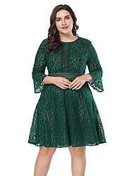 cheap -Women's Plus Size Green Navy Blue Dress Party A Line Solid Color Flare Cuff Sleeve Lace Patchwork XL XXL / Cotton