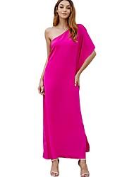 cheap -Women's Fuchsia Black Dress A Line Solid Color S M